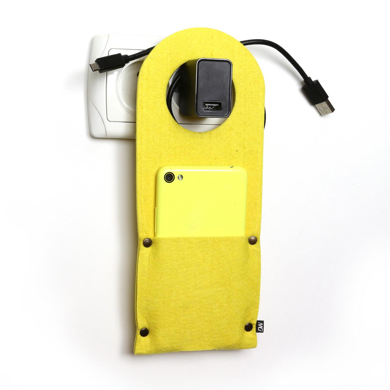 Карман д/зарядки телеф.на заклепке Digital Wool желтый