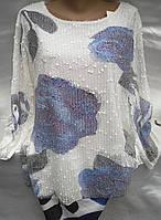 Блуза с розами женская батальная