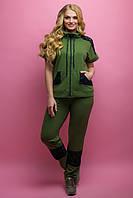 Женский костюм летний комбинированный с гипюром Калипса, цвет хаки / размер 52,60,62,64 / большие размеры