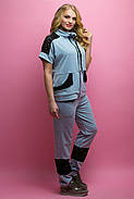 Женский костюм летний комбинированный с гипюром Калипса, цвет серый / размер 52-64 / большие размеры, фото 2