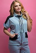 Женский костюм летний комбинированный с гипюром Калипса, цвет серый / размер 52-64 / большие размеры, фото 4