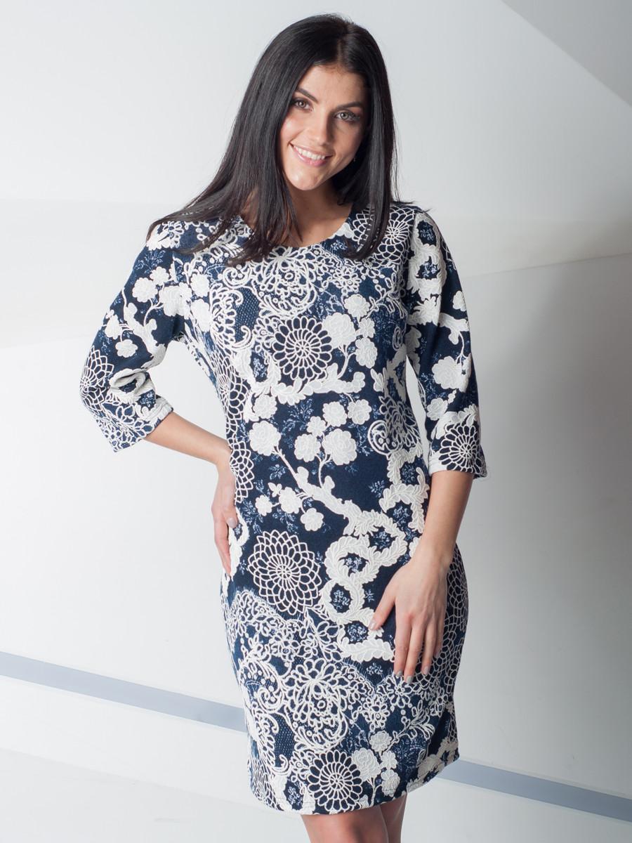 Женское свободное платье с цветочным узором 48