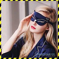 Шёлковая маска для сна Silenta Cat, dark blue +беруши + гель!