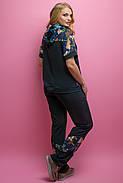 Женский костюм летний комбинированный с шифоном Амбрелла, цвет черный / размер 52-64 / большие размеры, фото 4