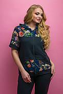 Женский костюм летний комбинированный с шифоном Амбрелла, цвет черный / размер 52-64 / большие размеры, фото 3
