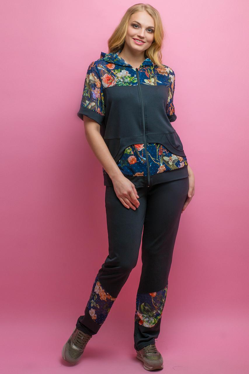 Женский костюм летний комбинированный с шифоном Амбрелла, цвет черный / размер 52-64 / большие размеры