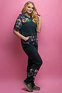 Женский костюм летний комбинированный с шифоном Амбрелла, цвет черный / размер 52-64 / большие размеры, фото 5