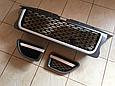 Решетка радиатора и жабры Range Rover Sport (2005-2009) Серая, чёрная сетка, фото 2