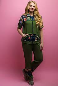 Женский костюм летний комбинированный с шифоном Амбрелла, цвет хаки / размер 52-64 / большие размеры