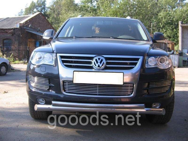 Защитная дуга по бамперу Volkswagen Touareg (2010 -...) двойная