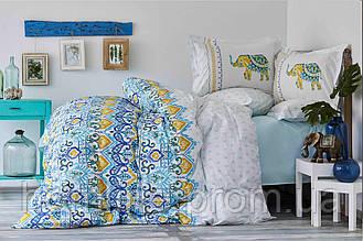 Постельное белье Karaca Home ранфорс Marodisa голубое полуторного размер