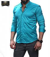 Мужская бирюзовая приталенная рубашка, фото 1