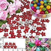 """( 250шт) Серединки стразы  """"цветочек маленький"""", d=7мм Цвет - Красный"""
