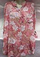 Блуза из штапеля с цветочным принтом женская батальная