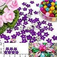 """( 250шт) Серединки стразы  """"цветочек маленький"""" Ø7мм Цвет - Фиолетовый"""