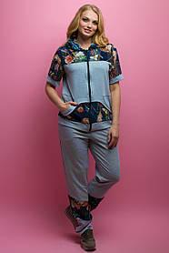 Женский костюм летний комбинированный с шифоном Амбрелла, цвет серый / размер 52-64 / большие размеры