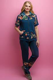 Женский костюм летний комбинированный с шифоном Амбрелла, цвет синий / размер 52-64 / большие размеры