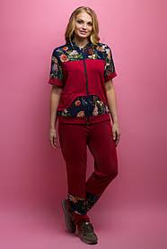 Женский костюм летний комбинированный с шифоном Амбрелла, цвет бордо / размер 52-64 / большие размеры