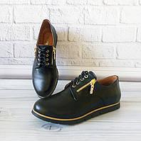 Женские кожаные туфли на плоской подошве, фото 1