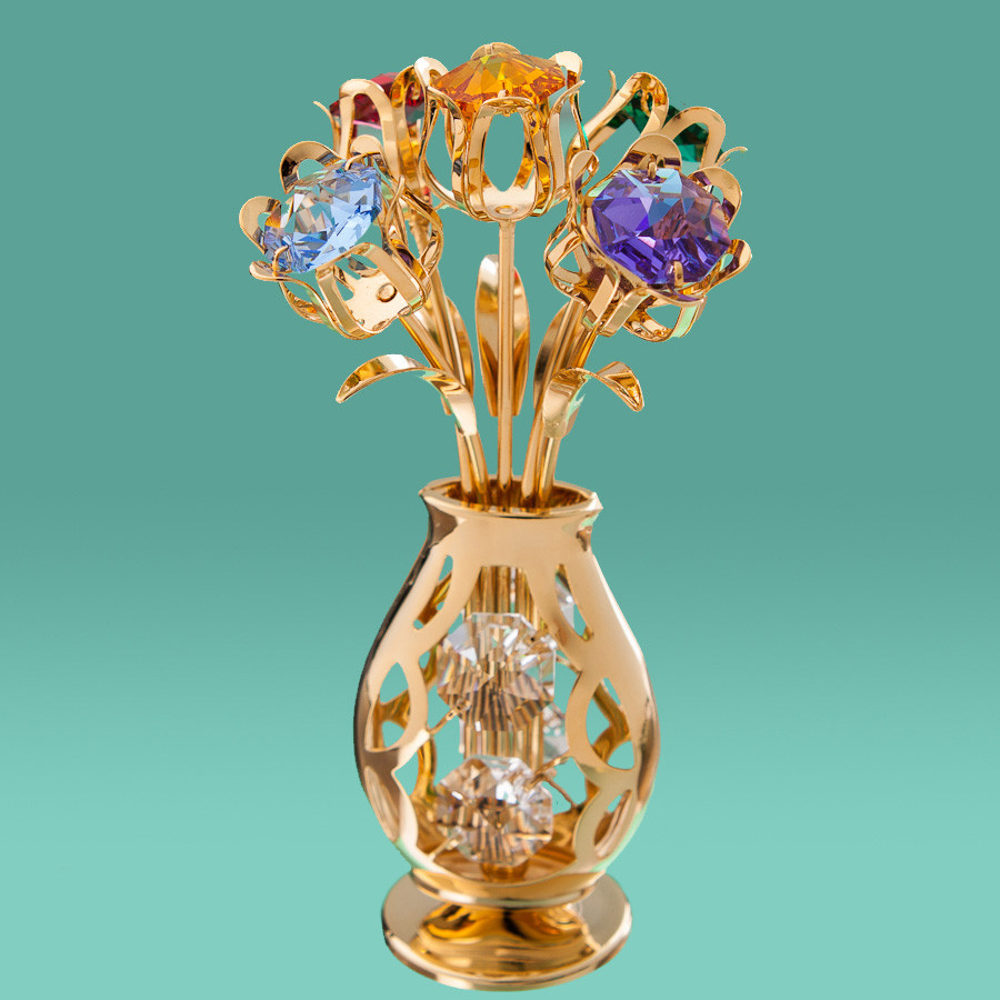 "Фигурка ""Ваза с цветами"" (11см) Crystocraft с кристаллами Swarovski, 0215-001"