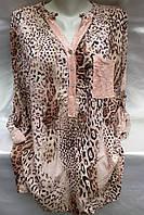 Блуза из штапеля леопардовая женская батальная, фото 1