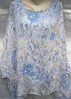 Блуза с цветочным принтом шифоновая женская батальная, фото 1