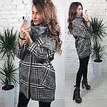 Женское шерстяное объемное пальто в клетку на подкладке, фото 2