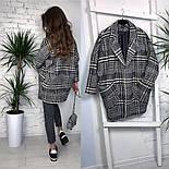Женское шерстяное объемное пальто в клетку на подкладке, фото 4