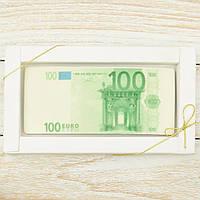 """Шоколадная открытка """" Купюра 100 евро  """" классическое сырье. Размер: 180х120х5мм, вес 90г, фото 1"""