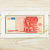 """Шоколадная открытка """"Купюра 500 евро """" классическое сырье. Размер: 180х120х5мм, вес 90г"""