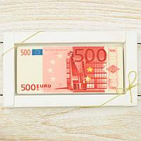 """Шоколадная открытка """"Купюра 500 евро """" классическое сырье. Размер: 180х120х5мм, вес 90г, фото 1"""