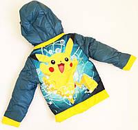 "Детская деми куртка ""Покемон"", размер 140, бирюза, фото 1"