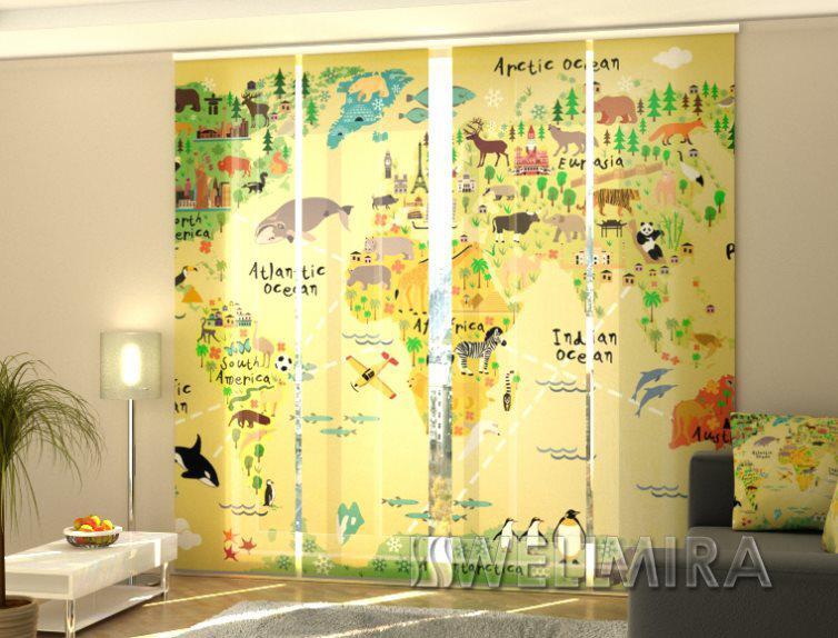 Панельная штора Детская карта
