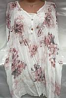 Блуза с цветочным принтом женская батальная, фото 1