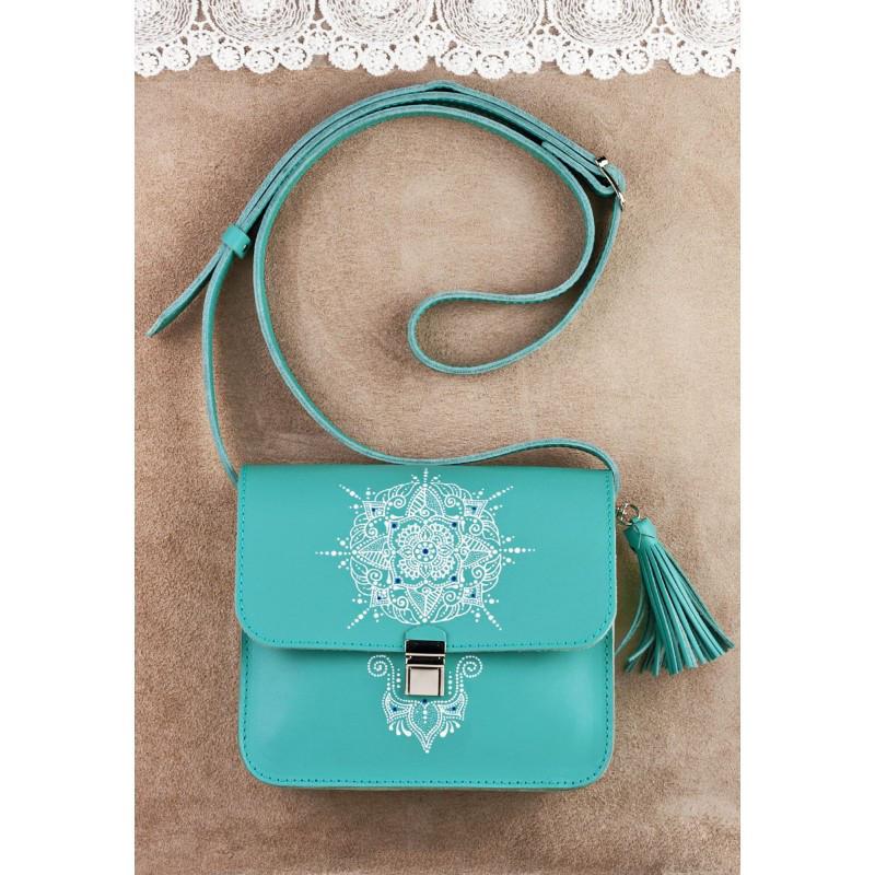 Кожаная женская сумка с художественной росписью