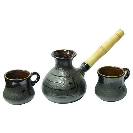 Керамический набор Малый, стандарт ( турка 250 мл и 2 чашки 100 мл ), фото 2