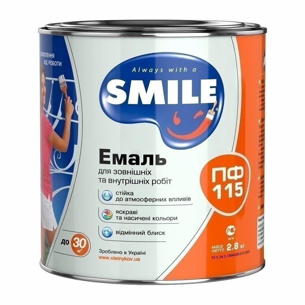 Емаль алкідна по дереву і металу ПФ-115 ТМ Smile БЛІДО БЛАКИТНИЙ2.8кг