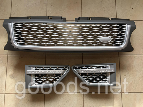 Решетка радиатора и жабры Range Rover Sport (2009-2013) Серая