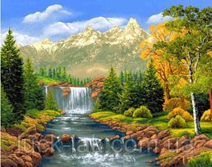 Алмазная вышивка, пейзаж, речка, квадратные стразы, полная выкладка 30, 20, БЕЗ ПОДРАМНИКА