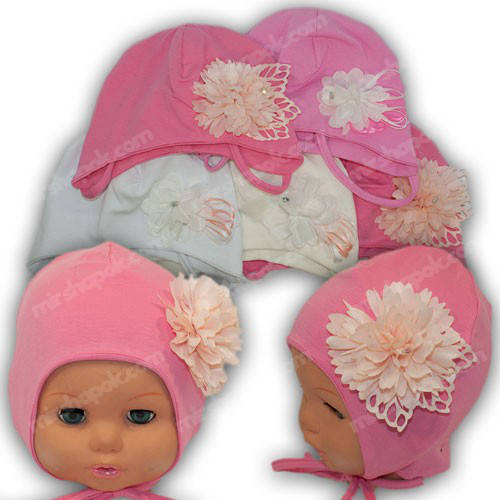 Детская трикотажная шапка на завязках, р. 40-42