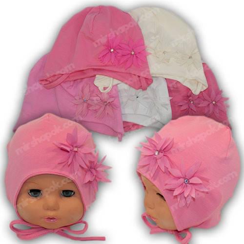 Детская трикотажная шапка с завязками, р. 40-42