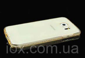 Золотой силиконовый чехол с камнями Сваровски для Samsung Galaxy S7 Edge