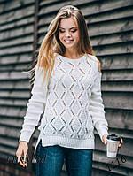 В'язаний светр Ромбики, молоко, фото 1