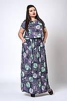 Летнее длинное платье батал из штапеля яркой расцветки