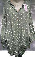 Рубашка-туника в горох женская батальная