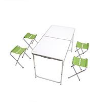Большой раскладной стол + 4 стула для кемпинга 120х60х70 см, фото 1