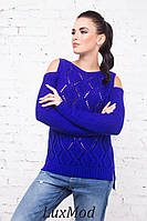 Вязаный свитерок Ромбики, электрик, фото 1