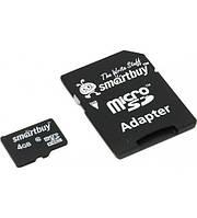 Карта памяти 4GB Smartbuy micro SDHC class 10 с адаптером SD!