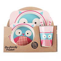 Набор посуды для детей из бамбукового волокна Owl Eco
