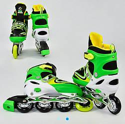 """Ролики А 24747 / 4410 """"L"""" Best Roller /розмір 38-42/ колір - САЛАТОВИЙ , PU колеса, ПЕРЕДНЄ КОЛЕСО СВІТЛО"""